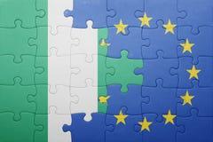 Verwirren Sie mit der Staatsflagge von Nigeria und von Europäischer Gemeinschaft stockfoto