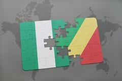 verwirren Sie mit der Staatsflagge von Nigeria und von Republik Kongo auf einer Weltkarte Stockbilder