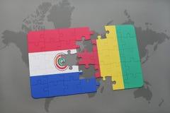 verwirren Sie mit der Staatsflagge von Paraguay und von Guine auf einer Weltkarte vektor abbildung