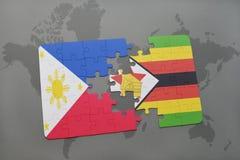 verwirren Sie mit der Staatsflagge von Philippinen und von Simbabwe auf einer Weltkarte Lizenzfreie Stockfotos