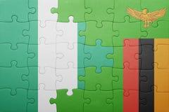 verwirren Sie mit der Staatsflagge von Sambia und von Nigeria Lizenzfreie Stockbilder