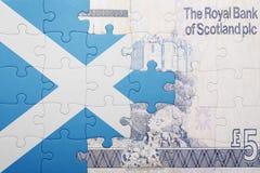 Verwirren Sie mit der Staatsflagge von Schottland und von schottischer Banknote Lizenzfreie Stockfotografie