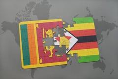 verwirren Sie mit der Staatsflagge von Sri Lanka und von Simbabwe auf einer Weltkarte Stockbild