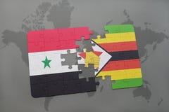 verwirren Sie mit der Staatsflagge von Syrien und von Simbabwe auf einer Weltkarte Stockbild