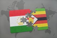 verwirren Sie mit der Staatsflagge von Tadschikistan und von Simbabwe auf einer Weltkarte Stockbilder