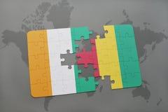 verwirren Sie mit der Staatsflagge von Taubenschlagdivoire und -guine auf einer Weltkarte stock abbildung