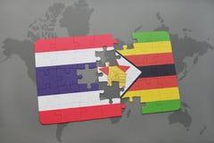 verwirren Sie mit der Staatsflagge von Thailand und von Simbabwe auf einer Weltkarte Stockbild
