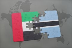 verwirren Sie mit der Staatsflagge von Vereinigten Arabischen Emiraten und von Botswana auf einer Weltkarte Lizenzfreies Stockbild