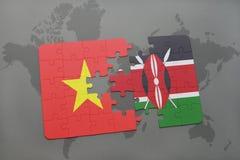verwirren Sie mit der Staatsflagge von Vietnam und von Kenia auf einer Weltkarte Lizenzfreie Stockfotos