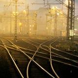 Verwirrende Eisenbahnlinien Stockbild