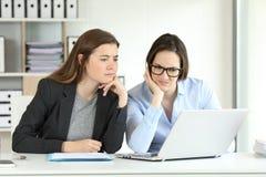 Verwirrte Büroangestellte, die on-line-Informationen konsultieren lizenzfreie stockfotografie