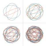 Verwirrte Kreisschlaufe, farbige verwickelte Beschaffenheit Chaotische bunte verwirrte Kreise Chaosstreifen Vektorillustration an lizenzfreie stockbilder