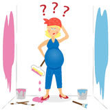 Verwirrte schwangere Frau lizenzfreie abbildung