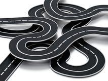 Verwirrte Straße lokalisiert auf weißem Hintergrund Abbildung 3D lizenzfreie abbildung