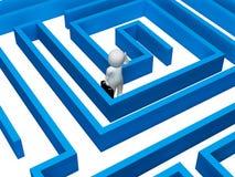 Verwirrte Wiedergabe Maze Indicates Decision Making And-Missgeschick-3d Lizenzfreie Stockbilder