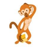 Verwirrter Affe, der ein Buch hält stock abbildung