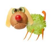 Verwirrter Hund gemacht vom Brot und vom Gemüse Lizenzfreies Stockfoto