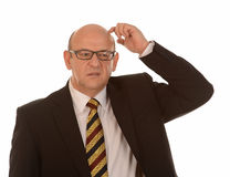 Verwirrter kahler Mann Lizenzfreie Stockfotografie