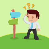 Verwirrter Vektor Geschäftsmann-Choice Determine Ways Stockfotos