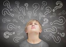 Verwirrtes Kinderdenken Stockbild