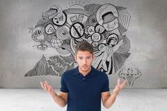 Verwirrtes Mann agaijnst verschiedene Ikonen im Hintergrund Lizenzfreie Stockfotografie