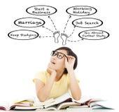 Verwirrtes Studentenmädchen, das an zukünftigen Karriereplan denkt stockbild