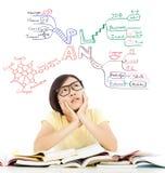 Verwirrtes Studentenmädchen, das an zukünftigen Karriereplan denkt Stockfotografie