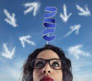 Verwirrung der Weise für eine Geschäftsfrau Konzept der schwierigen Karriere stockbilder