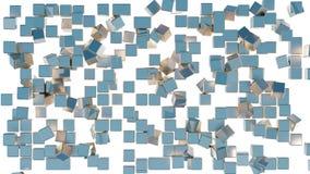 Verwirrung in einem Gitter von vielen goldenen und blauen Würfeln vektor abbildung