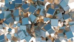 Verwirrung vieler goldenen und blauen Würfel lizenzfreie abbildung