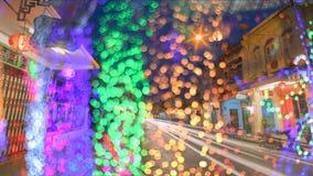 Verwischen Sie abstraktes bokeh des Stadtnachtlichthintergrundes, Phuket Stockfotos