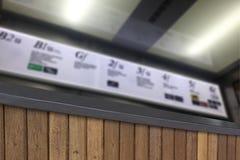 Verwischen Sie Hintergrund des Terrassenholzes und des Platte belichteten Schildes Stockbilder