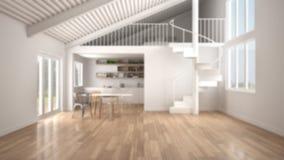 Verwischen Sie Hintergrund, unbedeutende weißer Küche des Raum-, mit Mezzanin und moderne Wendeltreppe, Dachboden mit Schlafzimme lizenzfreie abbildung