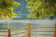 Verwischen Sie Hintergrundlandschaft mit einem See und einer Kiefernniederlassung Stockfoto