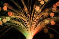 Verwischen Sie Nacht-bokeh runde Lichter des Grüns blauen Rotes Lizenzfreie Stockfotos