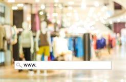 Verwischen Sie Speicher- und bokehlicht mit Adresszeile, on-line-Einkaufsbac Lizenzfreie Stockfotos