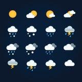 Verwittern Sie Ikonen Sonne und Wolken im Himmel, im Regen mit Schnee, im Donner und im Blitz Flaches Vektorwetter und -meteorolo vektor abbildung