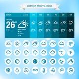 Wetterwidget und -ikonen Stockfoto