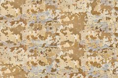 Verwitterte und befleckte orange Gipsblockwand, alte verwitterte Schale malte Wandhintergrund Stockfoto