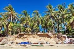 Verwoest teerace op een tropisch strand - kracht van de aard Stock Foto