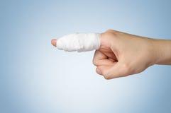 Verwonde vinger met verband Royalty-vrije Stock Fotografie