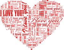 Verwoordt de hart gestalte gegeven I-Liefde u wolk Stock Foto