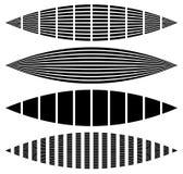 Verworfene, verzerrte Rechtecke, Vertikale, horizontale Linien Satz von Stockfotos