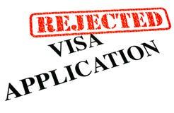 VERWORPEN de Toepassing van het visum Stock Foto's