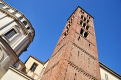 Very ancient medieval bell tower Royalty Free Stock Photo