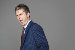 Very angry business boss shouting. At you Stock Photo
