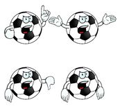 Very angry cartoon football set. Collection of angry cartoon footballs with various gestures Royalty Free Stock Images