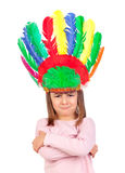 Very angry girl with indian feathers Royalty Free Stock Photos