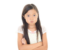 Very Angry girl. Portrait of an Asian girl on white background Stock Images