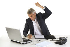 Very angry manager. Will hit his laptop Royalty Free Stock Image